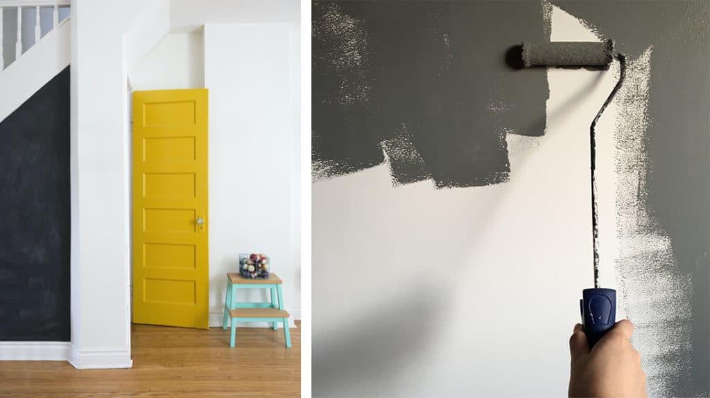 Gele deur en grijze muurverf
